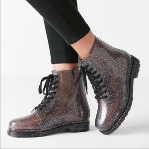 Urban Outfitters | Glitter Sheer Lace Up Rain Boot